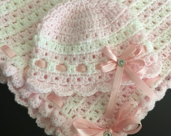 Handmade baby girl blanket and matching hat, Pink and white baby blanket and hat, Ready to ship next business day, Free shipping in USA