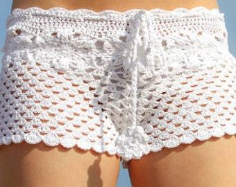 Crochet shorts white cotton