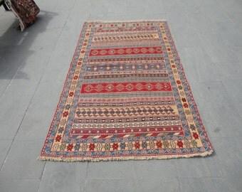 Persian rug,hand woven rug,embroieded rug,79 x 48 inches,Iranian rug,boho rug,rustic decor rug,cottage decor,sahseven rug,vintage wool rug !