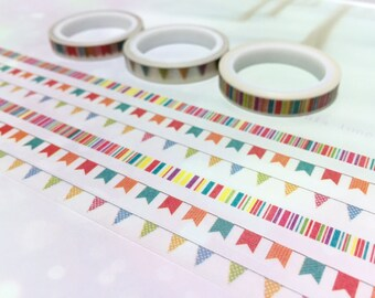 3 rolls flag banner washi tape 5M x 7mm Flag Garland colorful thin tape party invitation flag banner deco masking tape kids party sticker