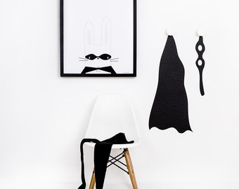 Powder cloud - poster Superhase.Kopf. White 30x40cm