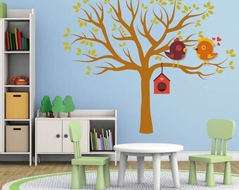 tree wall decals Birds wall decals Woodland wall decals forest wall decal for Nursery kids wall decal kcik101