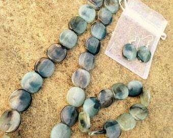Bijoux Flat Squared Marble Beaded Necklace, Bracelet & Earring Set
