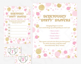 Pink Gold Baby Shower Game - Guess the Mess - Deliciously Dirty Diapers Game - Chocolate Candy Bar Mess Diaper Game Girl Confetti CB0003-pg