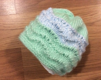 Mint Green and Light Blue Baby Hat Size 6 Months