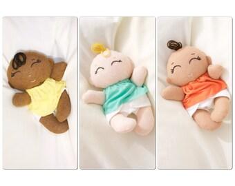 Custom made doll-Tiny dress up cloth baby rag doll- Custom doll-Wool blend felt doll baby- 10 inch cloth doll baby-fabric doll