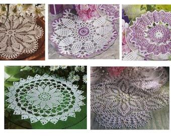 5 pcs crochet doily pattern-only diagram-in pdf-24