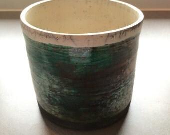 green / copper bowl / flowerpot