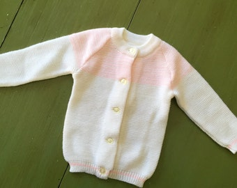 Vintage baby sweater - cream and white