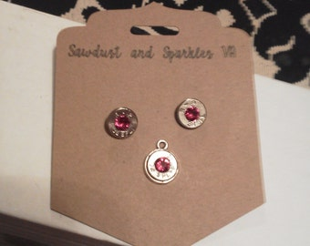 38 Special bullet casing earrings or pendant with Swarovski crystals