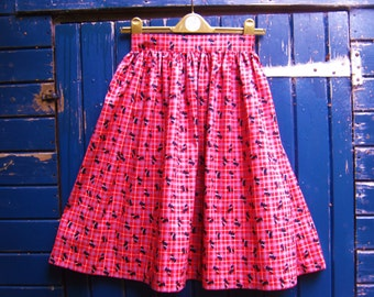 Skirt, vintage fifties style, Little Black Scottie Dog red Tartan , retro quirky