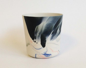 black-blue-pink porcelain vessel