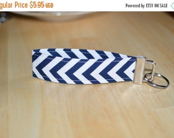 SALE Chevron Key Fob, Wristlet Keychain, Navy and White Key Wristlet