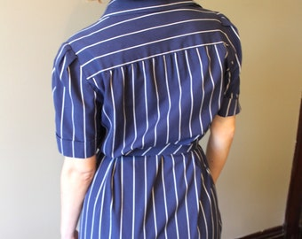 Vintage Striped Blue Dress