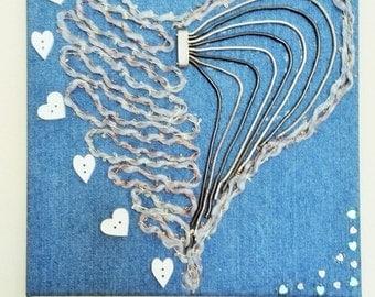 "Denim canvas "" Taken Heart"". Romantic gift/message. DashingFrames 2016 Collection"