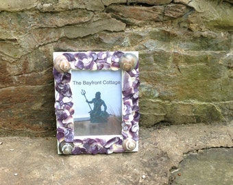 Picture Frame 5x7, Sea Shell Frame, Beach Decor, Sea Shell Art Decor, Wampum