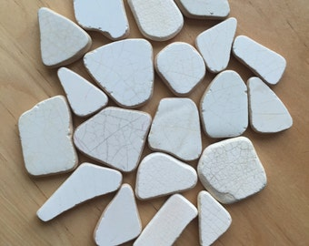 Mosaic Pieces/ Craft Supplies/ Old Beach Pottery/ Sea Pottery/ Patterned Shard/ Pottery Shard/ Mosaic Tiles