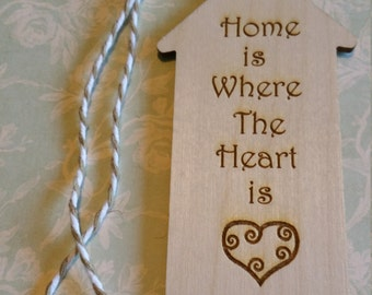 Laser engraved wooden house shaped tag/book mark