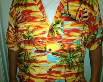 Vintage Pineapple Connection Beach Print Hawaiian Shirt Rayon Camp Shirt XL