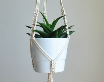 boho macrame hanger, hanging planter, macrame plant holder, cotton plant hanger, boho home decor, wedding hanger, modern plant pot holder