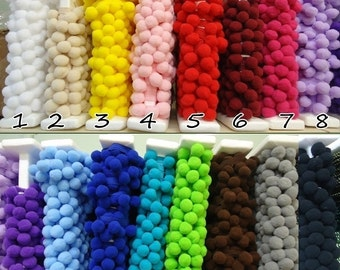 20 mm Large Pom Pom Trim, Big pom pom Ball Fringe by the yard / meter