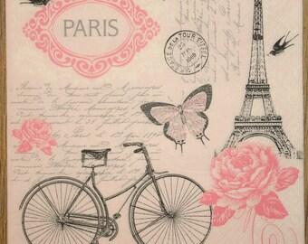 2 Decoupage napkins,Paper Napkins for decoupage,napkins for scrapbooking,Paris, Eiffel Tower,Decor Collection,Provence, Set of napkins. Nr20