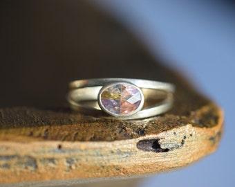Vintage Pastel Gemstone Silver 925 Ring, US Size 8.75, Used