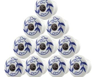 10 Cabinet Knobs White Blue Porcelain 34 Dia| Renovators Supply