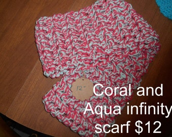 Coral and Aqua Infinity Scarf