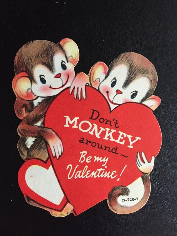 Valentines Day Vintage Monkey Cards – Monkey Valentine Cards