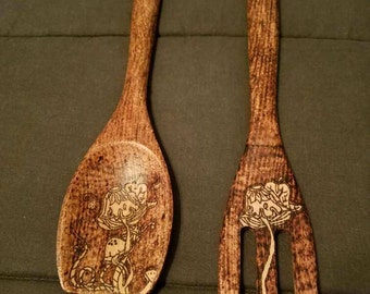 Dark fork and spoon set