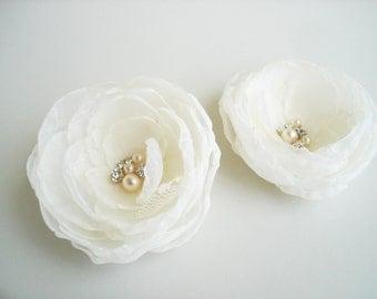 Chiffon flower clip Ivory Bridal Wedding  Hair Flower Clip,  Wedding Hair Accessories, Flower Girl , Wedding Hair Flowers, Flower Hair Clips