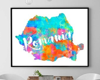 Romania Map, Instant Download, Romania Wall Art Decor, Watercolor Print, Romanian Gift, Printable Map