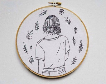 Then she Wanders, black-work embroidery hoop, nature, wall hanging, embroidery hoop, modern embroidery, fiber art, home decor, fine art, art