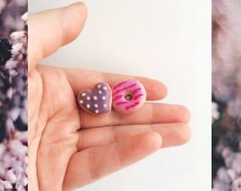 Cute donut stud earrings, food earrings, food jewelry, fun earrings, studs || sweet bakery jewellery