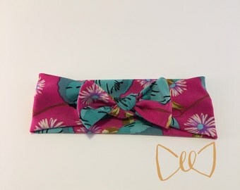 Pink and Blue Floral Headband