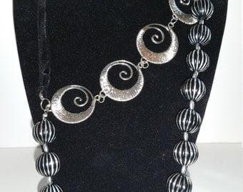 Unique Black and Silver Necklace