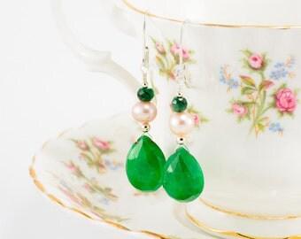 Sterling silver, pink pearl and emerald teardrop earrings