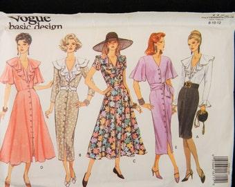 Vintage 1993 Vogue Basic Design Dress Sewing Pattern Ruffle Neck #1172 Uncut Size 8, 10, 12