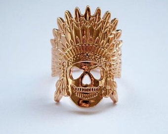 Ring Indian Skull plated gold or silver