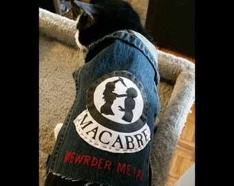 Denim Cat Vest - Macabre - Mewrder Metal