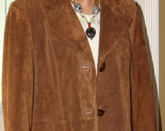 Women's Large Suede Leather Jacket Spring-Fall-can be worn in Winter with a sweater