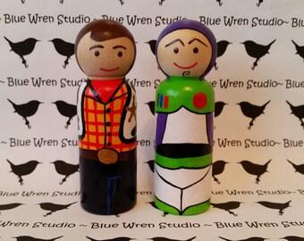 Wooden Peg Dolls - Woody & Buzz Lightyear (Toy Story)
