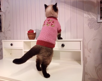 Pink Cat Sweater, Embroidered Cat Sweater, Sweater for a Cat, Sweater for a Sphynx, Sweater for Dog, Sweater for Pug
