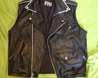 black leather punk vest