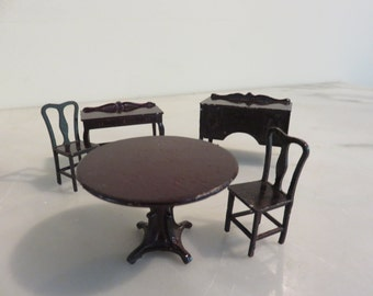 Vintage Tootsietoy Die Cast Doll Furniture with Brown Finish