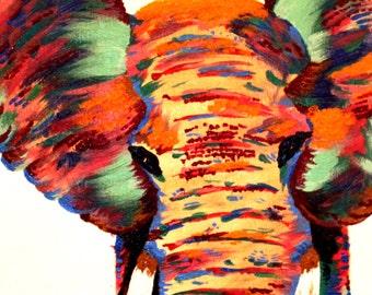 Colorful Elephant Acrylic/Oil Painting - Print