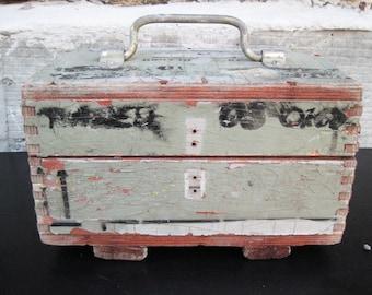 wooden industrial box, gray box, military box,loft, vintage 70s
