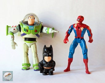 Superheroes Photograph 8x10 Vintage Toys Art Photo for Nursery or Boys Room old school toys still life colorful wall decor for kids