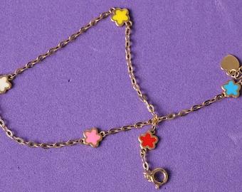 GIRLS bracelet gold enamel